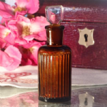 Round Brown Glass Bottle with Glass Stopper